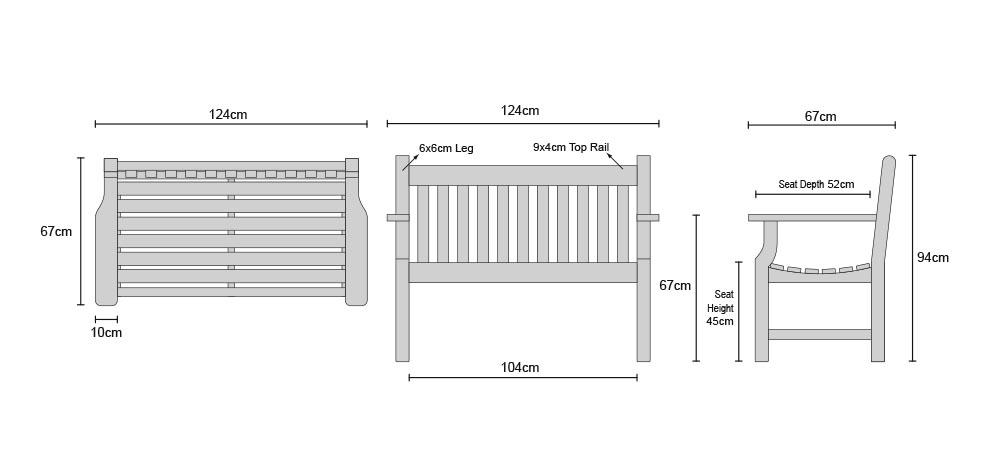 Taverners Teak 2 Seater Garden Bench - Dimensions