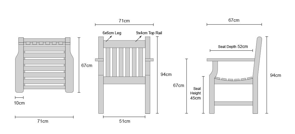 Taverners Armchairs - Dimensions