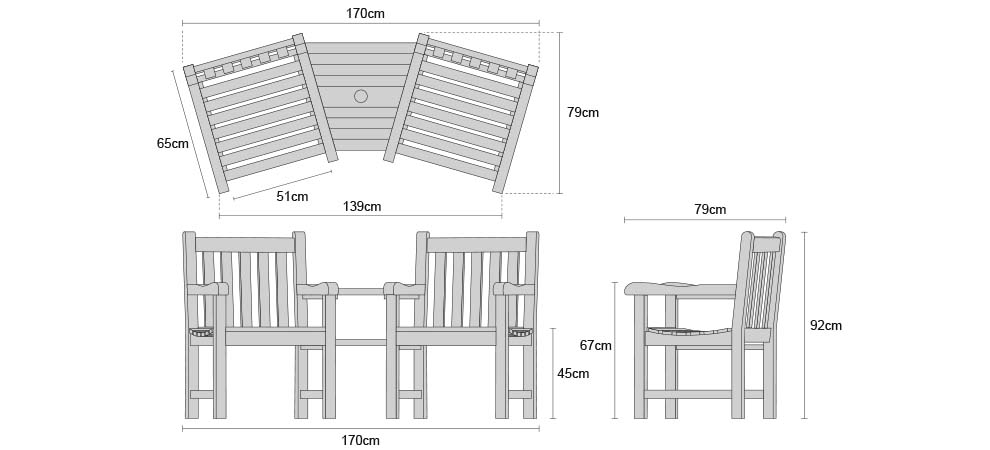 Windsor Teak Companion Seat - Dimensions