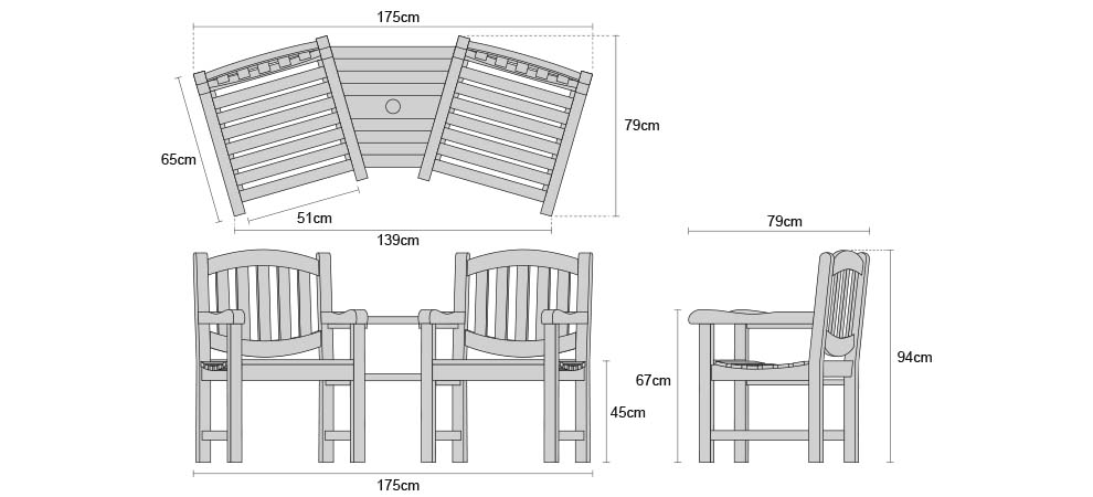 Ascot Teak Companion Seat - Dimensions
