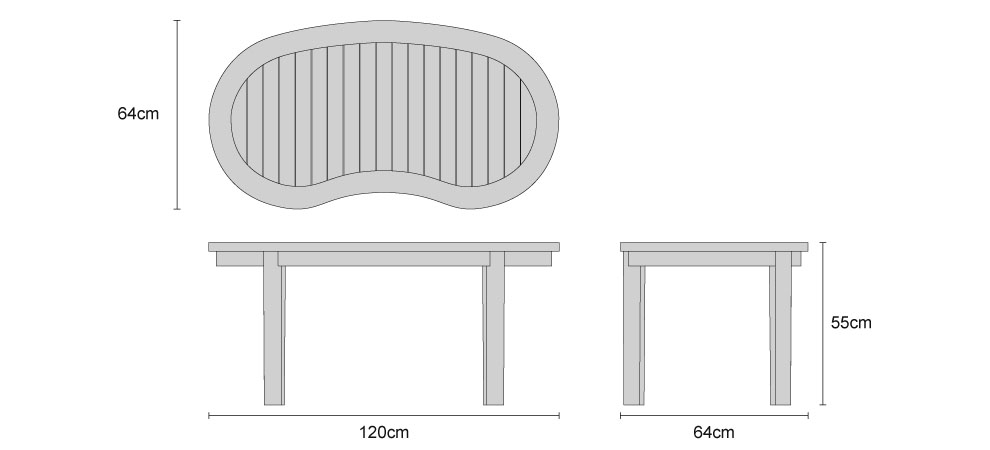 Contemporary Coffee Table - Dimensions