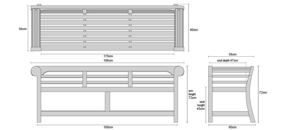 Low Back Teak Lutyens Bench 1.95m - Dimensions