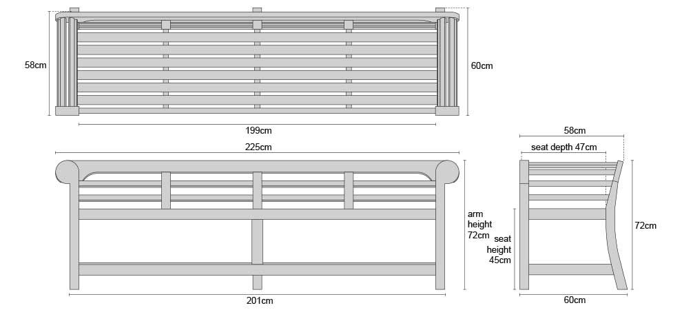 Low Back Teak Lutyens Bench 2.25m - Dimensions