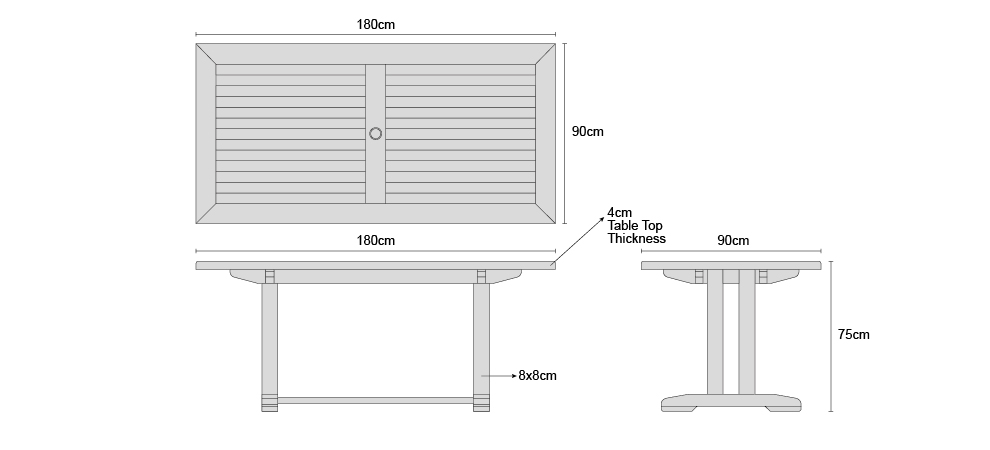 Cadogan 1.8m Table - Dimensions