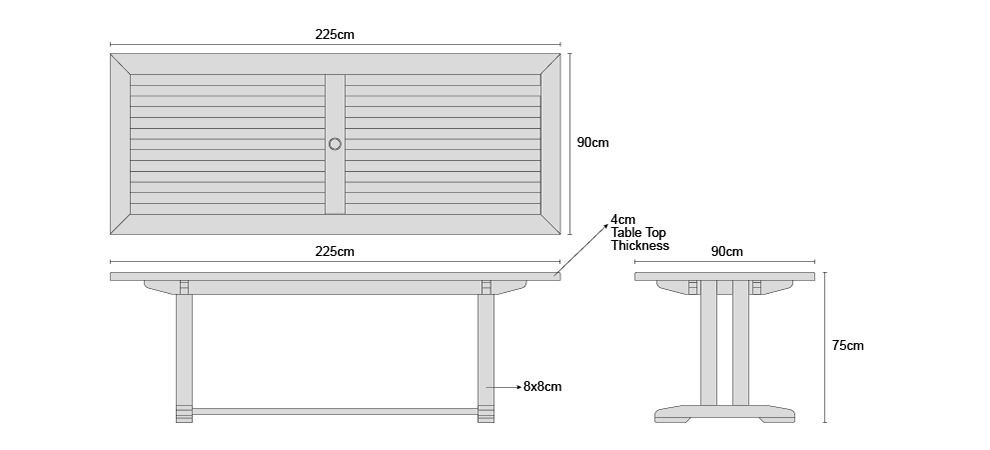 Cadogan Table 2.25m - Dimensions
