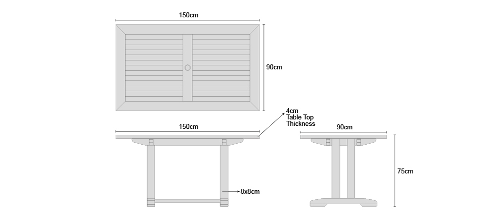 Cadogan 1.5m Table - Dimensions