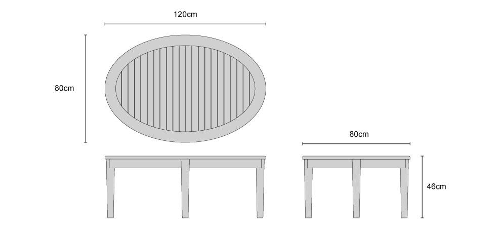 Aria Teak Oval Coffee Table - Dimensions