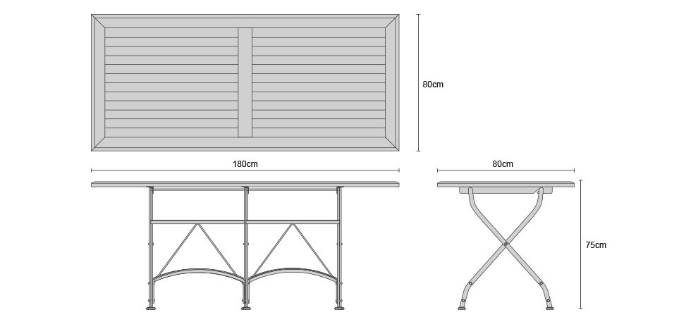 Rectangular 1.8m Bistro Table - Dimensions