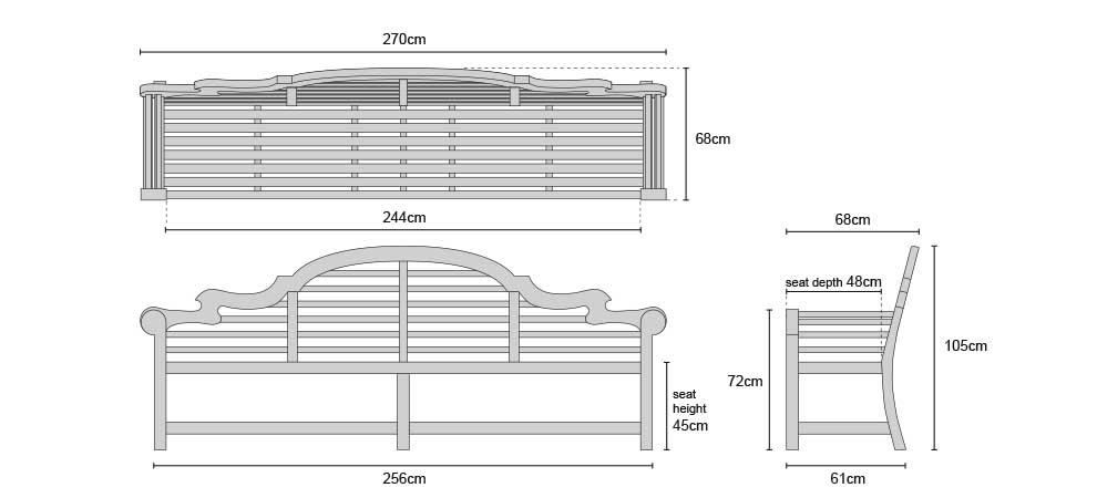Extra Large Lutyens Teak Bench - Dimensions