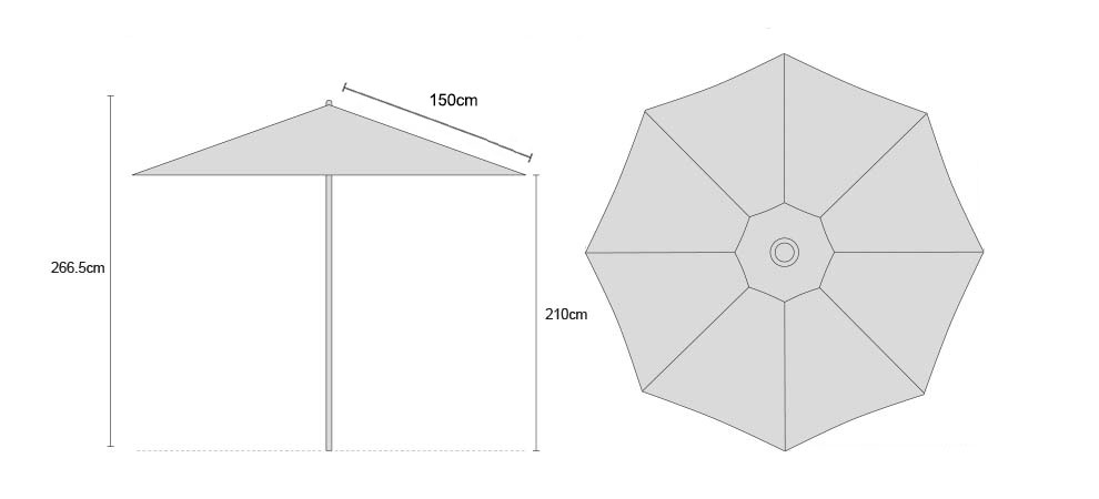 Octagonal 3m Garden Parasol - FSC Eucalyptus