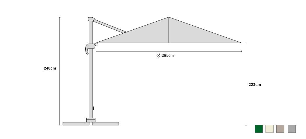 Medium Umbra Cantilever Parasol 3m - Dimensions