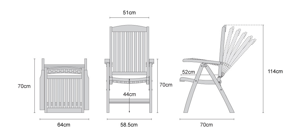 Cheltenham Outdoor Reclining Chair, Teak - Dimensions