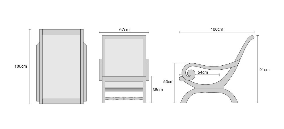 Riviera Outdoor Lounge Chair Dimensions