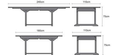 Brompton Teak Double Leaf Extendable Oval Garden Table 180cm - 240cm