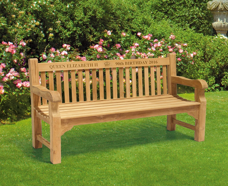 Memorial bench on display with our carved inscription