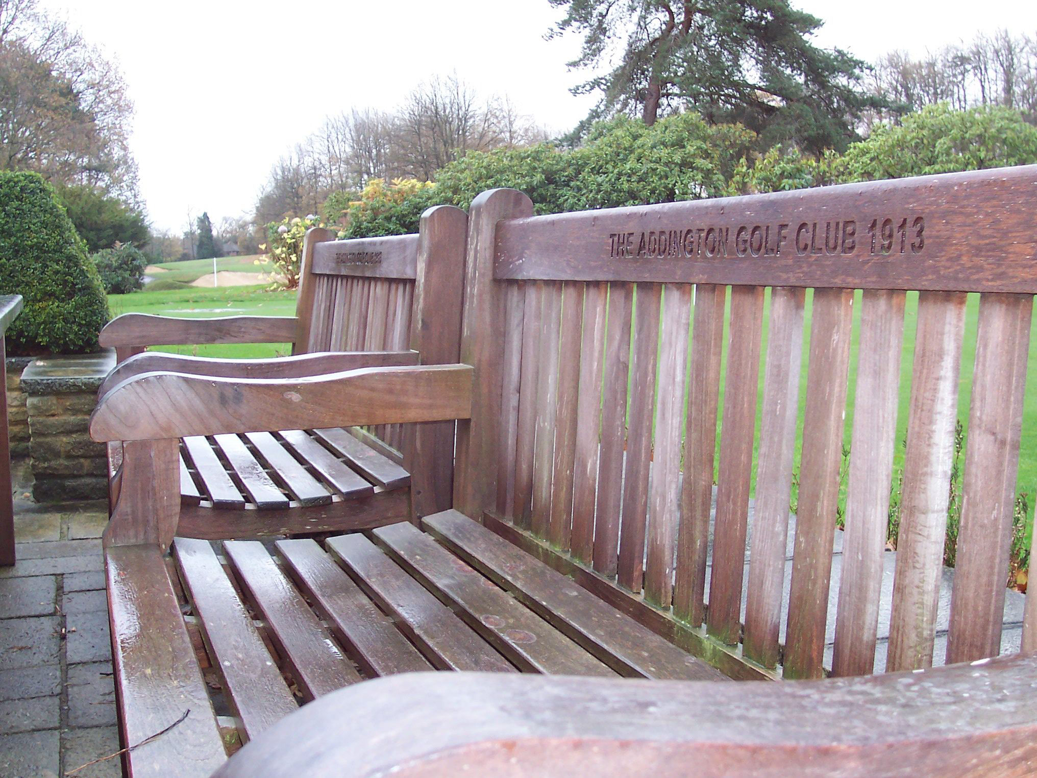 Bench rain addington golf club