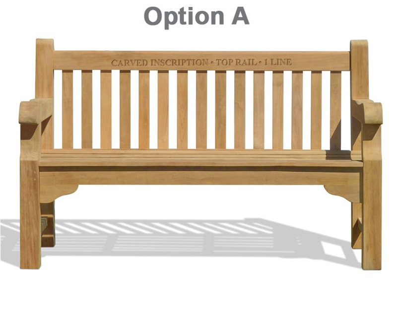 Tribute 6ft Teak Commemorative Memorial Bench with carved inscription