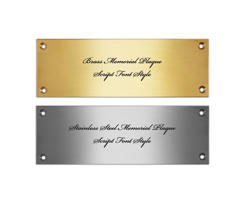 Brass and stainless steel plaques