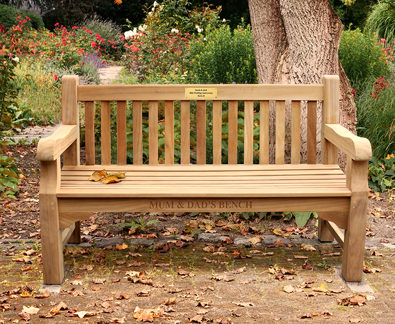 engraved park memorial bench
