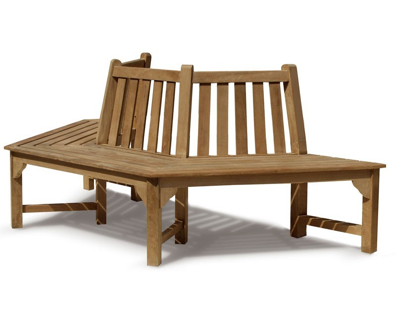 Teak hexagonal half tree bench