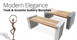 Modern Elegance With Our New Teak and Granite Benches